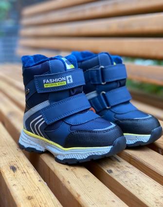 Ботинки зимние на 2-х липах и натуральной овчине, цвет синий
