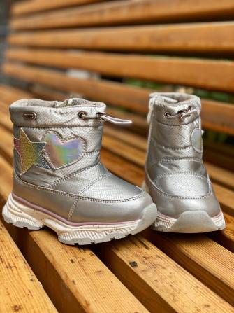 Ботинки зимние на натуральной овчине, цвет серебро