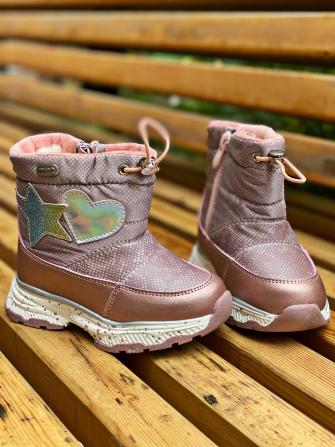 Ботинки зимние на натуральной овчине, цвет пудра