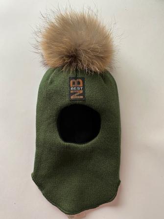 Шлем  трехслойный с натуральным помпоном и бантом, Цвет хаки