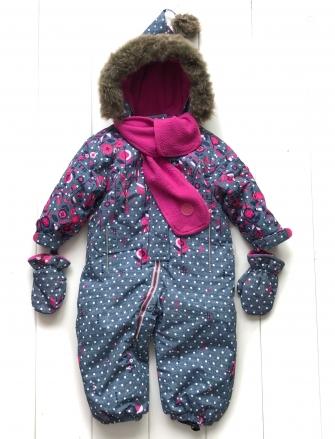 Pogo Kids, комбинезон с шарфом зимний  ( цвет малина/джинс)