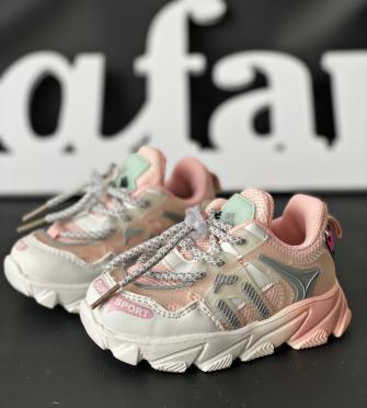 Кроссовки на шнурке (бело-розовые)