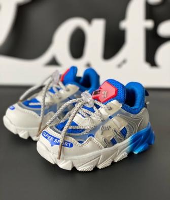 Кроссовки на шнурке (бело-синие)