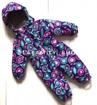 MYS, комбинезон демисезонный  для девочки ( фиолетовый цветочный)