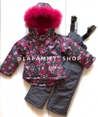 Mys , комплект зимний для девочки Цветочная поляна «серый»
