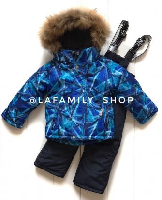 Mys, костюм зимний для мальчика абстракция (цвет синий)