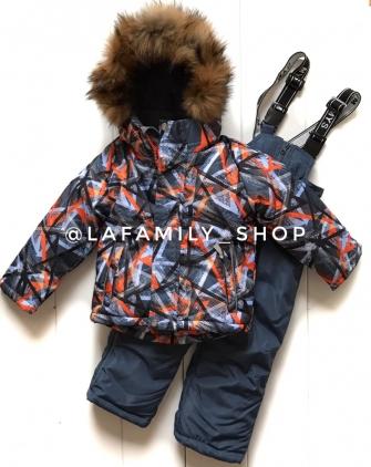 Mys, костюм зимний для мальчика абстракция (цвет оранжевый)