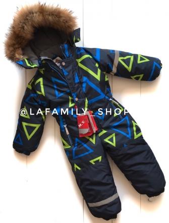 Mys, комбинезон зимний для мальчика треугольники ( цвет синий)