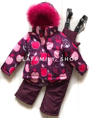 Mys , комплект зимний для девочки Яблоки  «бордовый»