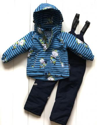 Комплект  демисезонный для мальчика «коты» цвет голубой