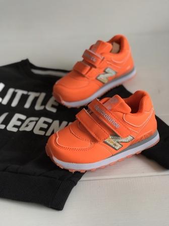Nb, кроссовки детские с 2-мя липучками ,  цвет - (оранжевый)
