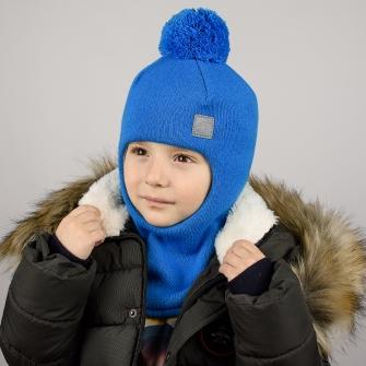 """Шлем трехслойный с вязаным помпоном и светоотражающим шевроном """"Ракета"""". Цвет голубой"""