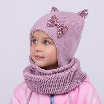 """Шапка """"Кошка"""" трехслойная с завязками. Цвет пудра/розовые пайетки"""