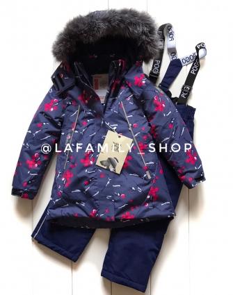 PogoKids, костюм зимний для девочки арт 88841 (серо-синий)