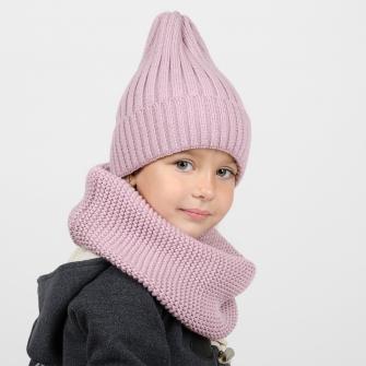 Комплект шапка трюфель с подворотом + снуд  (пудра)