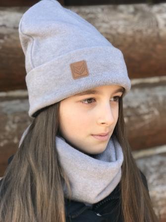 Комплект шапка бини с шевроном + снуд  (серый)