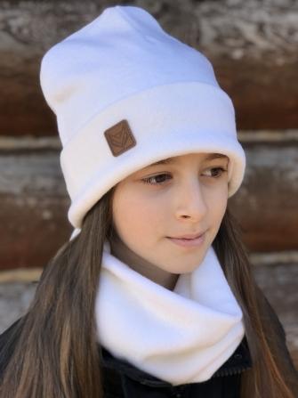 Комплект шапка бини с шевроном + снуд  (белый экрю)