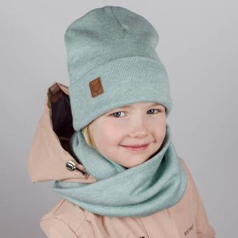 Комплект шапка бини с шевроном + снуд  (мятный)