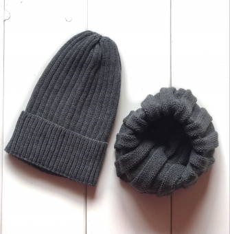Комплект шапка трюфель с подворотом + снуд  (графит)