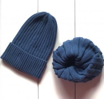 Комплект шапка трюфель с подворотом + снуд  (индиго)