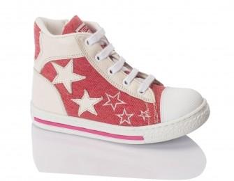 Minimen, ботинки на шнуровке с молнией (коралловые с белым)