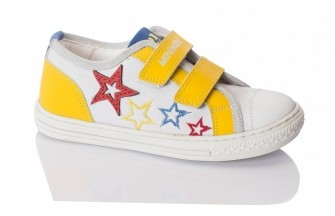Minimen, кроссовки на двух липучках (желтые с белым)