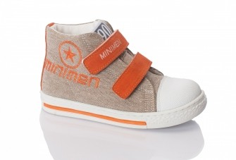 Minimen, ботинки на двух липучках (бежевые с оранжевым)