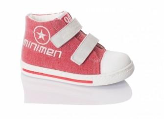 Minimen, ботинки на двух липучках (коралловый с белым)