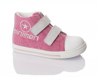 Minimen, ботинки на двух липучках (розовые с белым)