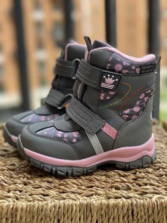 Tom-Miki, ботинки зимние для девочки принцесса (серые, нежно розовые)