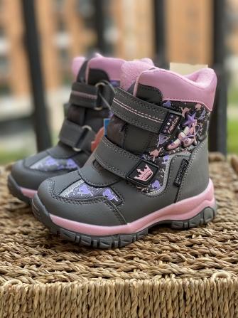 Tom-Miki, ботинки зимние для девочки  (серые, нежно розовые)