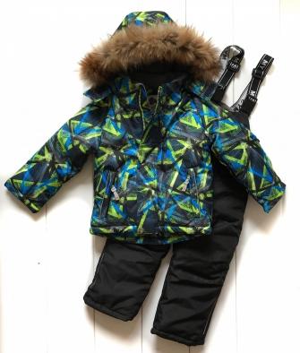 Mys, костюм зимний для мальчика абстракция (цвет салатовый)