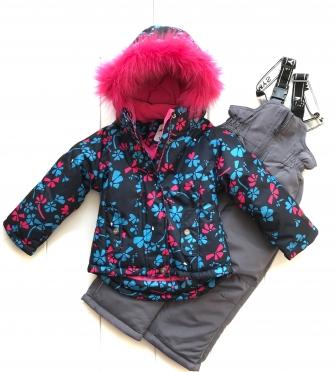 Mys , комплект зимний для девочки Цветочная поляна «синий»