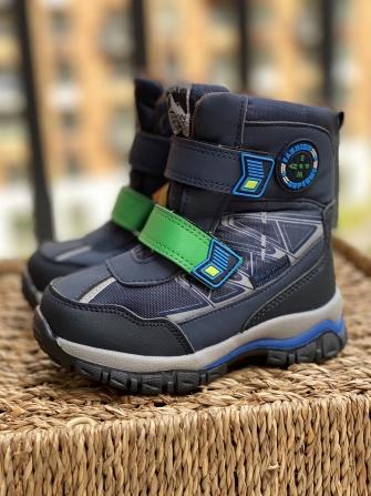 Tom-Miki, Ботинки зимние для мальчика классика (синий с зеленым)