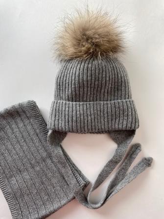 Комплект (шапка зимняя  с помпоном из енота +снуд восьмерка)  Цвет: Серый меланж