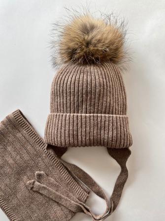 Комплект ( шапка зимняя  с натуральным помпоном +снуд). Цвет: коричневый