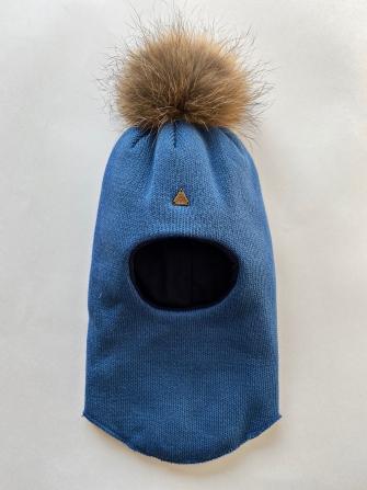 Шлем  трехслойный с натуральным помпоном и бантом, Цвет голубой