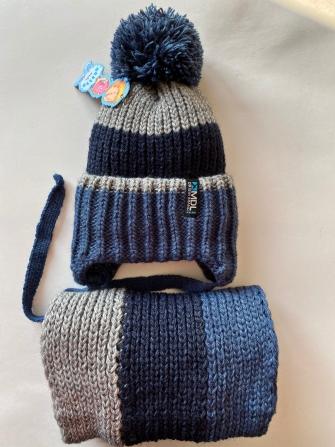 Комплект, шапка трехслойная с завязками вязаным помпоном + снуд восьмерка . Цвет: синий