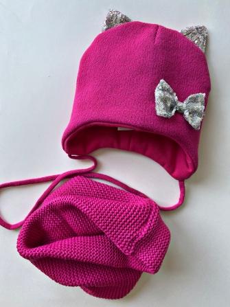 """Комплект шапка """"Кошка"""" трехслойная с завязками + снуд . Цвет малина"""