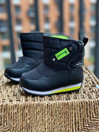 Ботинки-дутики зимние для мальчика , цвет чёрный /зелёный
