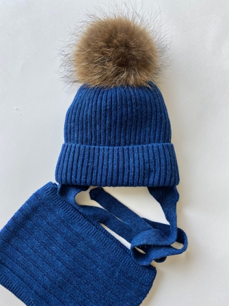 Комплект ( шапка зимняя  с натуральным помпоном +снуд). Цвет: Джинс
