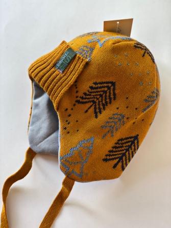 Шапка зимняя трехслойная с завязками Цвет: желтый