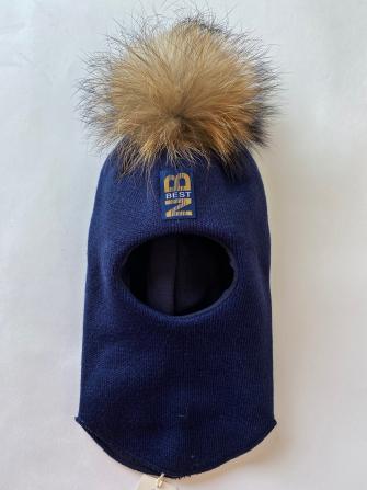 Шлем  трехслойный с натуральным помпоном , NB best.Цвет неви