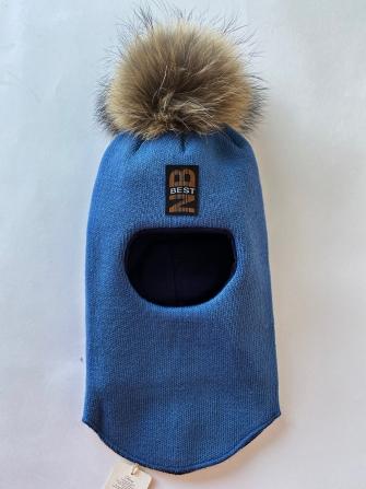 Шлем  трехслойный с натуральным помпоном NB best, Цвет голубой