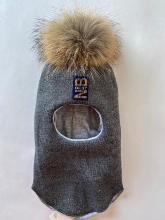 Шлем  трехслойный с натуральным помпоном NB best, Цвет серый